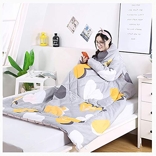 Multifunction Winter Lazy Quilt With Sleeves, Quilt Warm Thickened Washed Quilt Blanket For Home Winter Nap,B,150 x 200 cm 1.8 kg