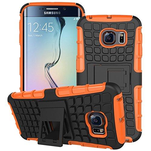 pinlu Custodia per Samsung Galaxy S6 Edge (5.1 Pollice) Smartphone Armatura Rugged Heavy Duty Cover Doppio Strato TPU + PC Antiurto Protettiva Case Pneumatico Modello Arancione