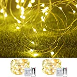 Cosumina 2 Pack 33Ft 10M Battery Powered Fairy Lights Indoor String Light Twinkle Lights with Remote for Wedding Garden Party Decorative Lighting Christmas Light Decoration Warm White