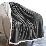 PAVILIA Plush Sherpa Fleece Throw Blanket Dark Grey | Soft, Warm, Fuzzy Charcoal Throw for Couch Sofa | Solid Reversible Cozy Microfiber Fluffy Blanket, 50x60