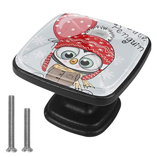 Pingüino con sombrero y abrigo con globos 4 Piezas Perilla del Cajón del Gabinete,Mango de un Solo Orificio/Tirador de Puerta de Armario,Decoración del Hogar de Gabinete y Decoración del Hogar
