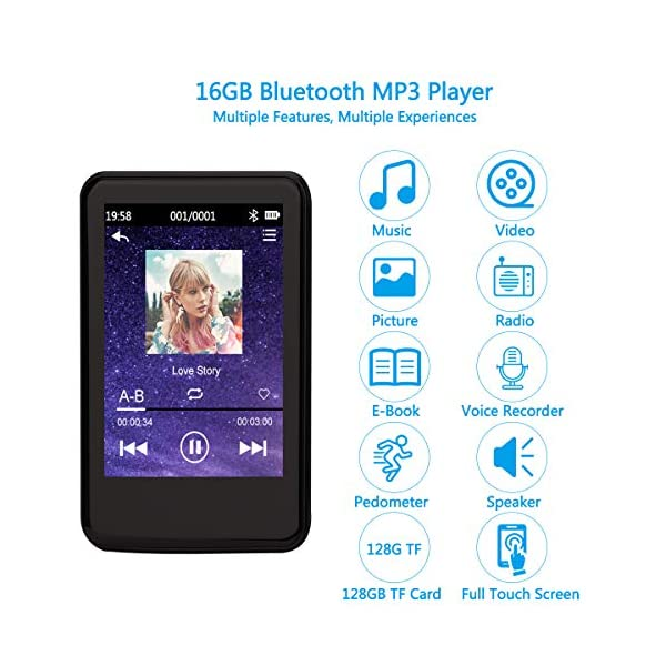 MP3 Player with Bluetooth 4.2 Upgrade 2.8'' Touch Screen HiFi Lossless Sound Portable MP3 Music Player with FM Radio, Voice Recorder, E-Book, 128GB TF Card, Pedometer 4