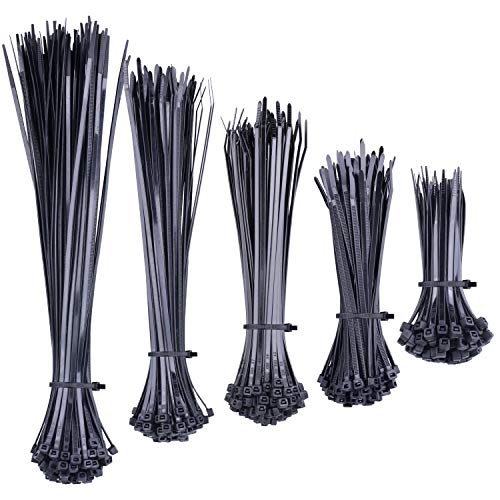 NOUVCOO 500 Pieces Zip Ties, Strong Black Self-Locking Nylon Cable Zip Ties in 5 Different Sizes for Home Office Garden Garage and Workshop NV02