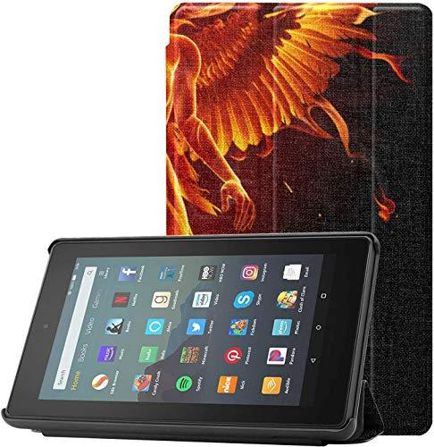Cover Fire 7 Case 9th Generation 2019 Living and Burning Phoenix Fundas para Kindle Fire 7 para Tableta Fire 7(novena generación,Lanzamiento de 2019) Ligero con suspensión/activación automática