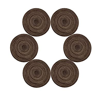 Placemats,Topotdor 14-Inch Round Placemat Braided Woven Placemats Set of 6 (Brown)