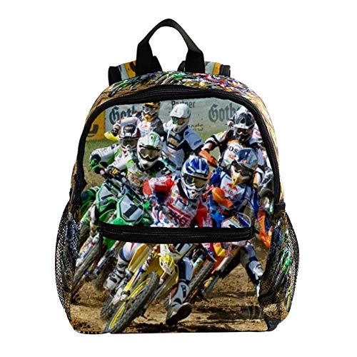 Daypack Motocicleta Motocross Moto Mochila para Niños 3-8 Años Mochila Infantiles Bolsas Escolares de Niños Niñas 25.4x10x30 CM