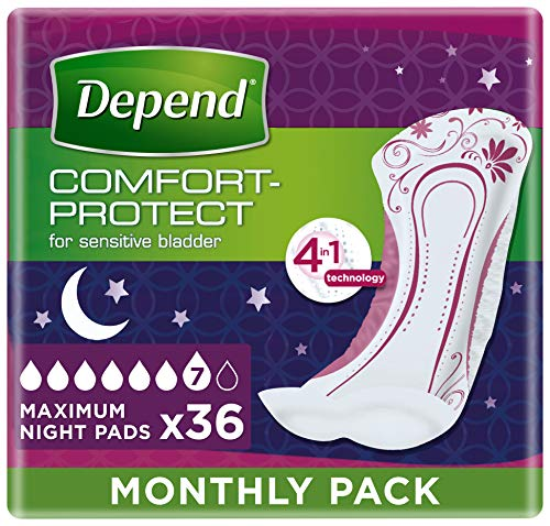Depend Maximum Overnight, Incontinence Pads for Women - 36 Pads