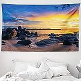 ABAKUHAUS Tramonto Tappeto da Parete e Copriletto, Horizon Sky Beach View, Colori Chiari N...