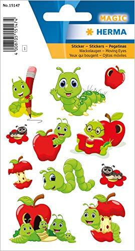 HERMA Stickers met wiebelogen, zelfklevende sticker met motieven voor jongens, meisjes en verjaardagen permanent Fritz van de worm