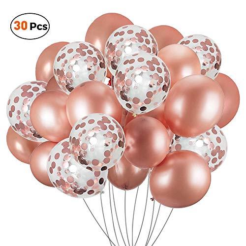 VCOSTORE Roségold Konfetti Ballon, 30 Stück Latex Luftballons Set Perfekt für Partydekorationen