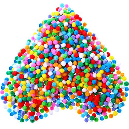 Shappy 2000 Pièces 0.8 cm Pom Poms Élastiques de Couleurs Assorties Arts Artisanat Boules de Pompons pour Fournitures de Loisirs et Matériel de Bricolage Créatif
