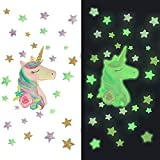 Billion times Unicorn Wall Decals Glow in The Dark Removable Unicorn Wall Decor Fluorescent Stickers Decor for Ceiling Kids Baby Boys Girls Bedroom Nursery Home Decor Unicorn Birthday Party