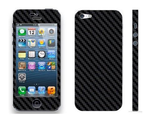 Pegatina Vinilo Skin Sticker Efecto Fibra de Carbono para iPhone 5, Color Negro