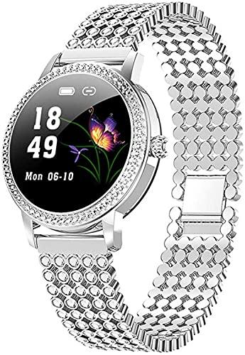 ZFAYFMA Reloj inteligente para mujer, diamante lindo reloj de acero IP68 impermeable pulsera ritmo cardíaco reloj inteligente digital regalo para los amantes Silver2