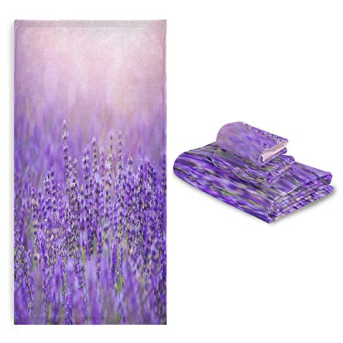 Blueangle Bathroom Decorative Towel Set with Purple Lavender Field Pattern , 3-Piece Set with Bath Towel, Hand Towel & Washcloth
