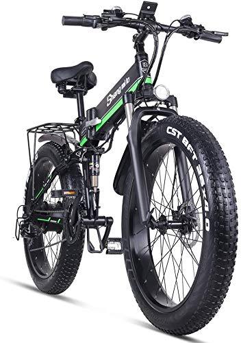 Sheng Milo Beach Bicicleta eléctrica 26 Pulgadas 1000W Crucero Todoterreno Carreras de montaña 21 velocidades 4.0 neumático Gordo Moto de Nieve Doble Amortiguador (Verde)