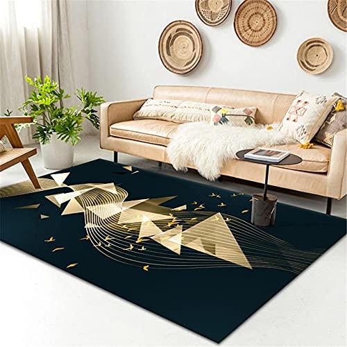 WCCCW Dorado Tridimensional geométrico Negro Abstracto patrón de Costura fácil de Limpiar Mesa de Estudio Mesa de café Alfombra decorativa-120x160cm para Comedor, Dormitorio, Pasillo y Habitación Ju