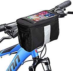 cheap MATTISAM Bicycle Handlebar Bag with Bicycle Basket | Mesh Pockets – Insulated from Cold and Heat – Reflective…