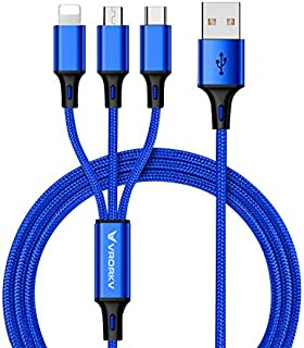 VRORKV® USB Multi Charging Cable, USB to Lighting/Type C/Micro 3 in 1 Multiple Charging Cable Cord Nylon Braided 1.2m(4ft) Multi Charger Connector for Apple iPhone, iPad, Android Samsung Galaxy, Huawei, Motorola, Nokia, LG, Kindle etc. (Blue)