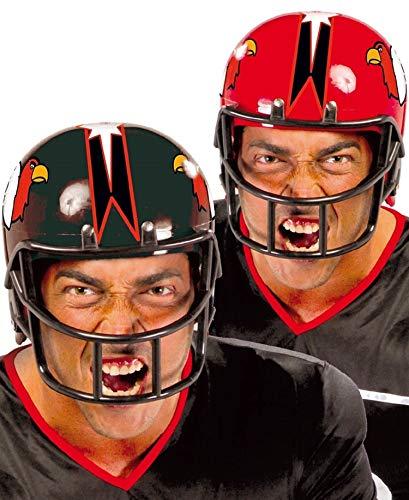 Mens American Football Quarterback Black Red Helmet Fancy Dress Costume Hat (Red)