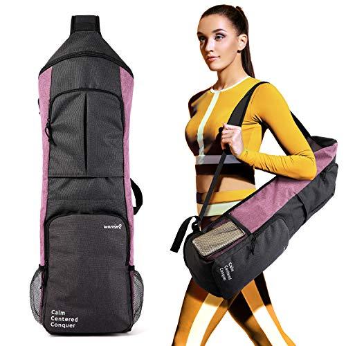 Warrior2 Yoga Mat Holder Carrier, Yoga Backpack Fits 1/2 Inch Thick Mat, Large Pockets & Water Bottle Holders | Full Zip Yoga Mat Carrying Bag for Women Men Gym Sport Travel Bike Yoga Accessories