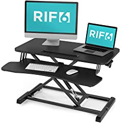 "EASILY SWITCH BETWEEN SITTING OR STANDING - Our smart ""X-Frame"" design allows you to quickly and smoothly adjust from 4.3 to 19.9 inches of lift with our premium-grade pneumatic gas lift.  32 INCH WIDTH - The desktop work surface the RIF6 standing de..."