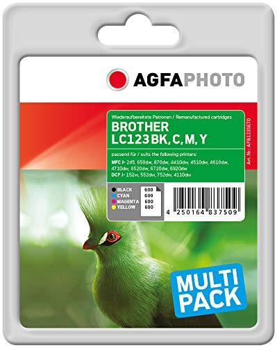 AgfaPhoto APB123SETD Remanufactured Tintenpatronen Pack of 4, schwarz, cyan, magenta, gelb
