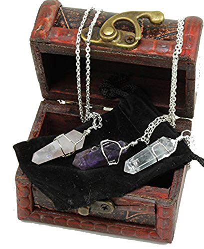 Dancing Bear Healing Crystal Pendant Necklaces (Set of 3) Master Stones: Amethyst, Rose Quartz & Clear Quartz w/ Identification Cards & Treasure Box, Positive Energy, Good Vibes, Lucky Charm, Reiki