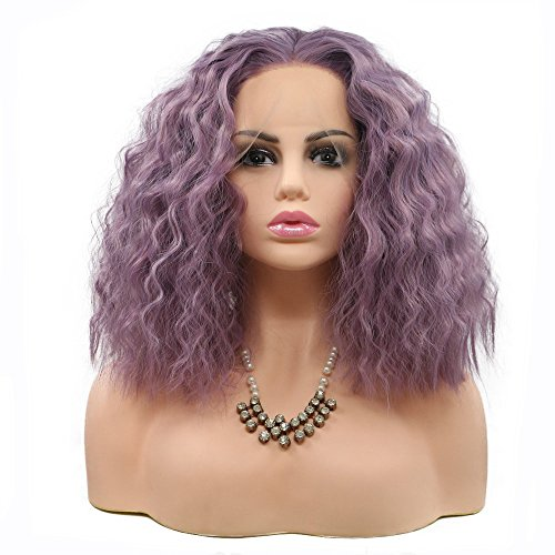 Smoky Pink Blue Lavender Purple Lace Front Wig, Water Wave Short Bob Hair Shoulder Length, Fluffy Women Female Summer Party Cosplay Holidays Makeup Glueless Wig Cap 14' (Lavender Purple)