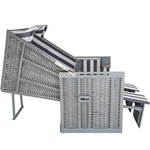 tectake 800805 Strandkorb Ostsee 2-Sitzer, 4-Fach verstellbare Rückenlehne, Volllieger mit Fußbänkchen und Seitentische, inkl. Schutzhülle + Kissen (Grau Weiß | Nr. 403907) - 5