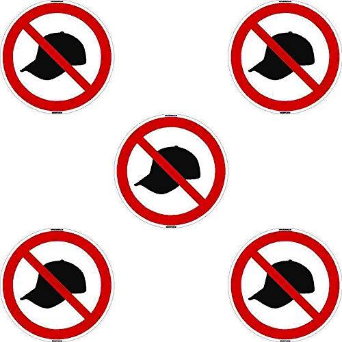 Kleberio® 5 selbstklebende PVC Aufkleber 50 mm 5 cm - Mütze tragen verboten! - für Innen & Außen geeignet Piktogramm Hinweis Aufkleber