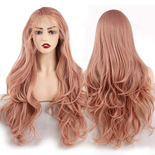 Leeven 24 Inch Long Wavy Synthetic Lace Front Wigs Orange Pink Natural Wavy...