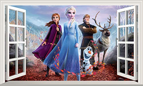 Chicbanners Frozen 2 Anna and Elsa Olaf V602 3D Magic Window Wall Sticker Self Adhesive Poster Wall Art Size 1000mm wide x 600mm deep (large)