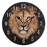 Use7 - Reloj de pared redondo de acrílico negro con diseño de cabeza de león