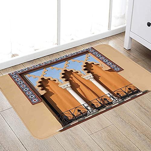 Alfombra de baño súper Suave de 50 x 80 cm,Arábigo, Ventanas Antiguas en Estilo árabe en Córdoba España Balcones de Fondo de la Ciudad, aren Alfombra de baño Absorbente Antideslizante