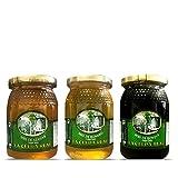 La Celda Real - 1,5 kg Miel Natural - Pack 3 sabores: Miel Romero + Miel Azahar + Miel de Bosque -...