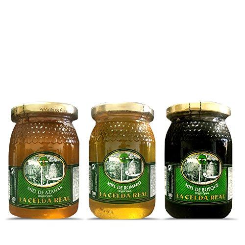 La Celda Real - 1,5 kg Miel Natural - Pack 3 sabores: Miel Romero + Miel Azahar + Miel de Bosque - 100% Natural
