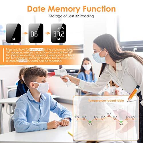 IDOIT Termometro professionale medico Termometro digitale a distanza 15-50MM Termometro frontale infrarossi con Indicatore intelligente febbre Memoria 32 letture per adulti neonati bambini