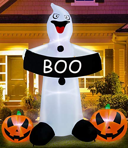 TURNMEON 8Ft Halloween Inflatable Ghost Grim Holding Pumpkins Boo Banner LED Light Up Air Blow Up Halloween Decoration Indoor Outdoor Home Yard Lawn Garden Party Favor Supplies