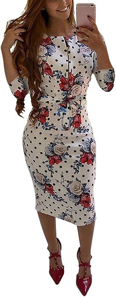 Ekaliy Womens Bodycon Midi Dress - Elegent Short Sleeve Floral Print Slim Fit Business Pencil Dress with Belt