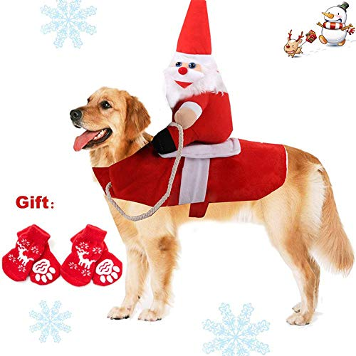 QCLU Pet Dog Cat Christmas Costume, Funny Santa Claus Riding Outfit for Small Large Dogs, Santa Claus Riding Pet to Send Gift Knight Pets Clothes Suit for Christmas Dressing up, Include 4 Pet Socks