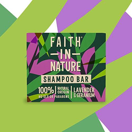 Faith In Nature Natürliche Lavendel & Geranien Haarseife, Nährend, Vegan und Tierversuchsfrei, Ohne Paraben und SLS, Für Normales Bis Trockenes Haar, 85 g