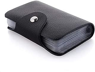 Kraptick Leather Credit Card Holder/Business Card Holder/ATM Card Holder for Women Men- Holds 24 Cards (Black)