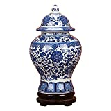 ufengke Jingdezhen Classic Blue and White Porcelain Floral Temple Ginger Jar Vase, China Ming Style,Height 15'(38cm)