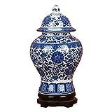 ufengke Jingdezhen Jarrón de Porcelana Azul y