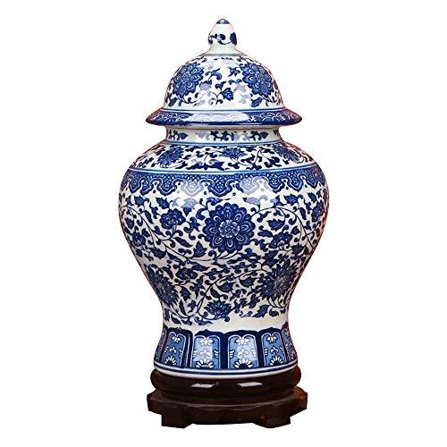 ufengke Jingdezhen Klassische Blaue und Weiße Porzellan Vase,Blumenvase,China Ming-Stil,Höhe 15
