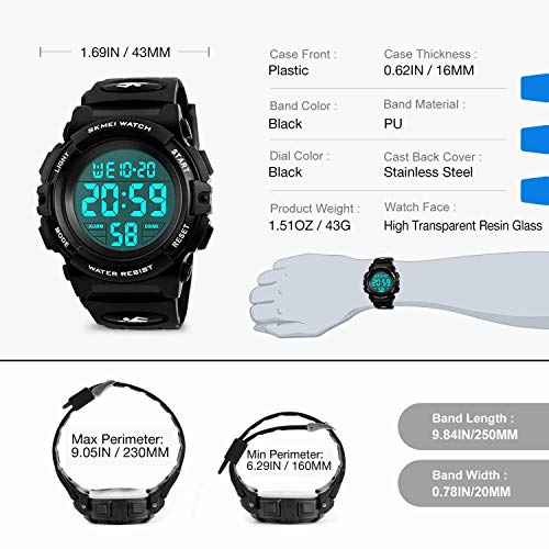 Kids Watches Boys Waterproof, Kids    Black Digital Sports Waterproof Outdoor Analog Electronic Watches with Alarm Stopwatch, Children Birthday Presents Gifts Toys for Age 4-12 Year Old Boys Girls