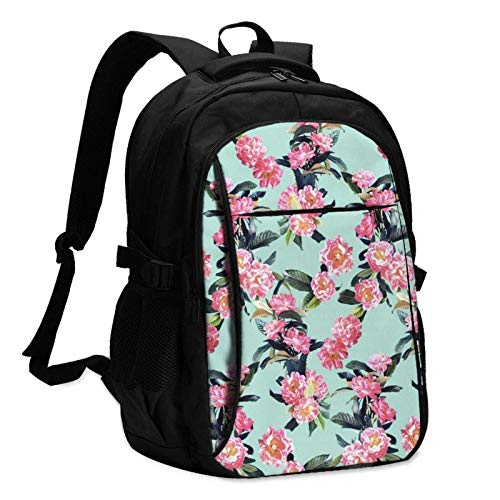 XCNGG Overlapping Peony Travel Laptop Backpack with USB Charging Port Multifunction Work School Bag