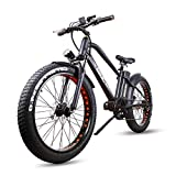 """Nakto 26"""" Fat Tire Electric Bicycle Mountain 500W High Speed Brushless Motor and Detachable Waterproof Lithium Battery Electric Bikes 6-Speed Beach Snow Adult Electric Bicycle"""