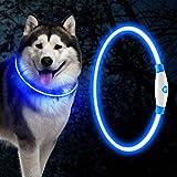 Collare Luminoso A Led Per Cani,Collare Per Cani Blu Collare Luminoso Per Cani Usb Ricaricabile,Collare Di Sicurezza Per Animali Domestici,Più Regolabile In Lunghezza,Tre Modalità Di Illuminazione
